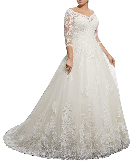 d1dbb3a8f0120 Women's Plus Size Bridal Ball Gown Vintage Lace Wedding Dresses for Bride  with 3/4 Sleeves at Amazon Women's Clothing store: