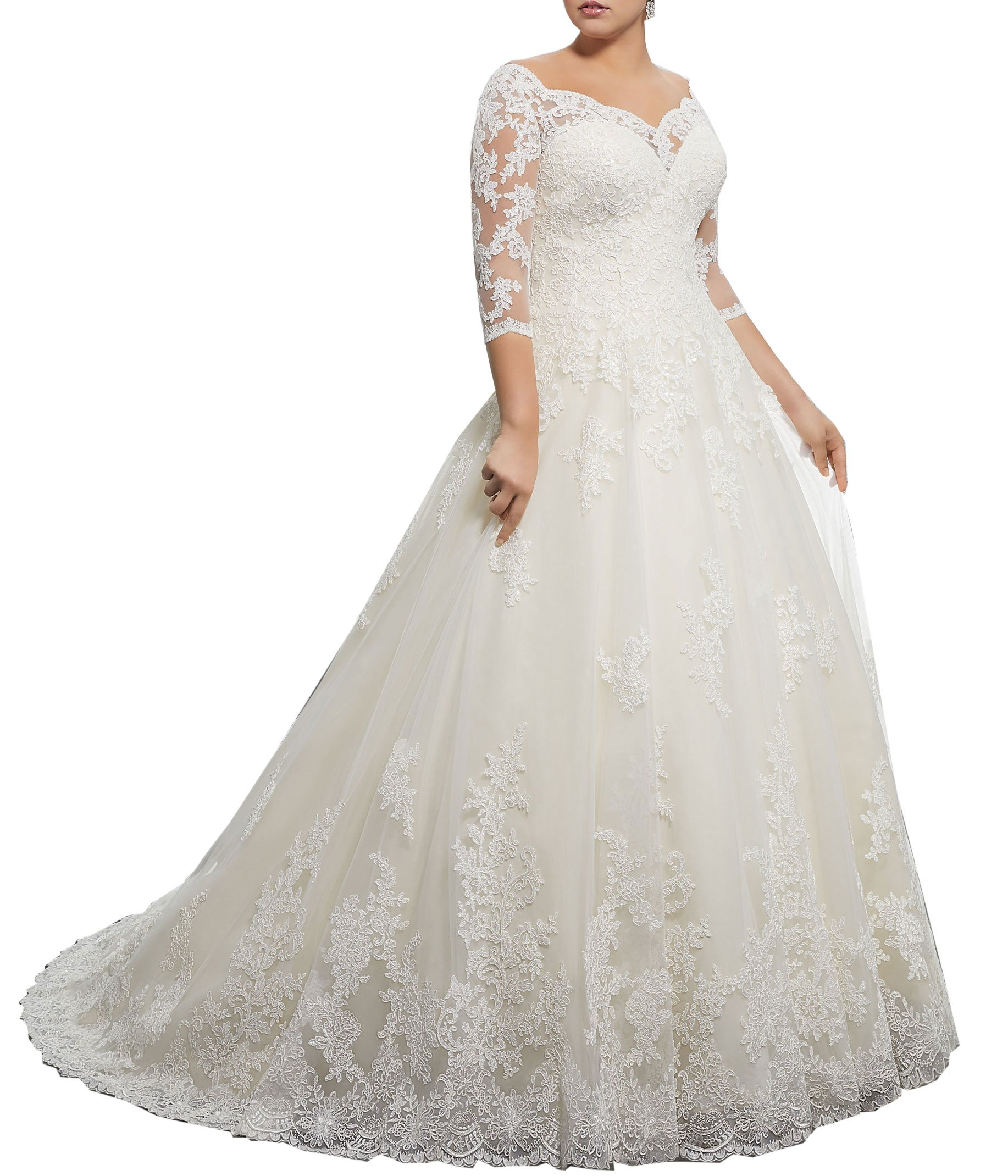WuliDress Women's Plus Size Bridal Ball Gowns Lace Wedding Dresses with 3/4 Sleeves Ivory 20W by WuliDress (Image #1)