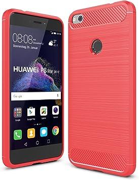 IVSO Funda Huawei P8 Lite 2017 Slim Armor Silicio Cover Funda Protectora de Carcasa Funda para Huawei P8 Lite 2017 Smartphone (Rojo): Amazon.es: Electrónica