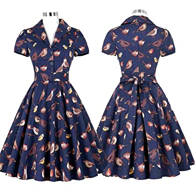 Vintage Rockabilly 50s Dresses Women Jurken Dress Bird Pinup Short Audrey Hepburn Dresses Vestidos,5