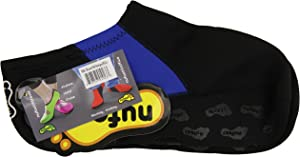 Nufoot Booties Men's Shoes, Best Foldable & Flexible Footwear, Fold and Go Travel Shoes, Yoga Socks, Indoor Shoes, Slippers, Black with Royal Blue Stripes, X-Large