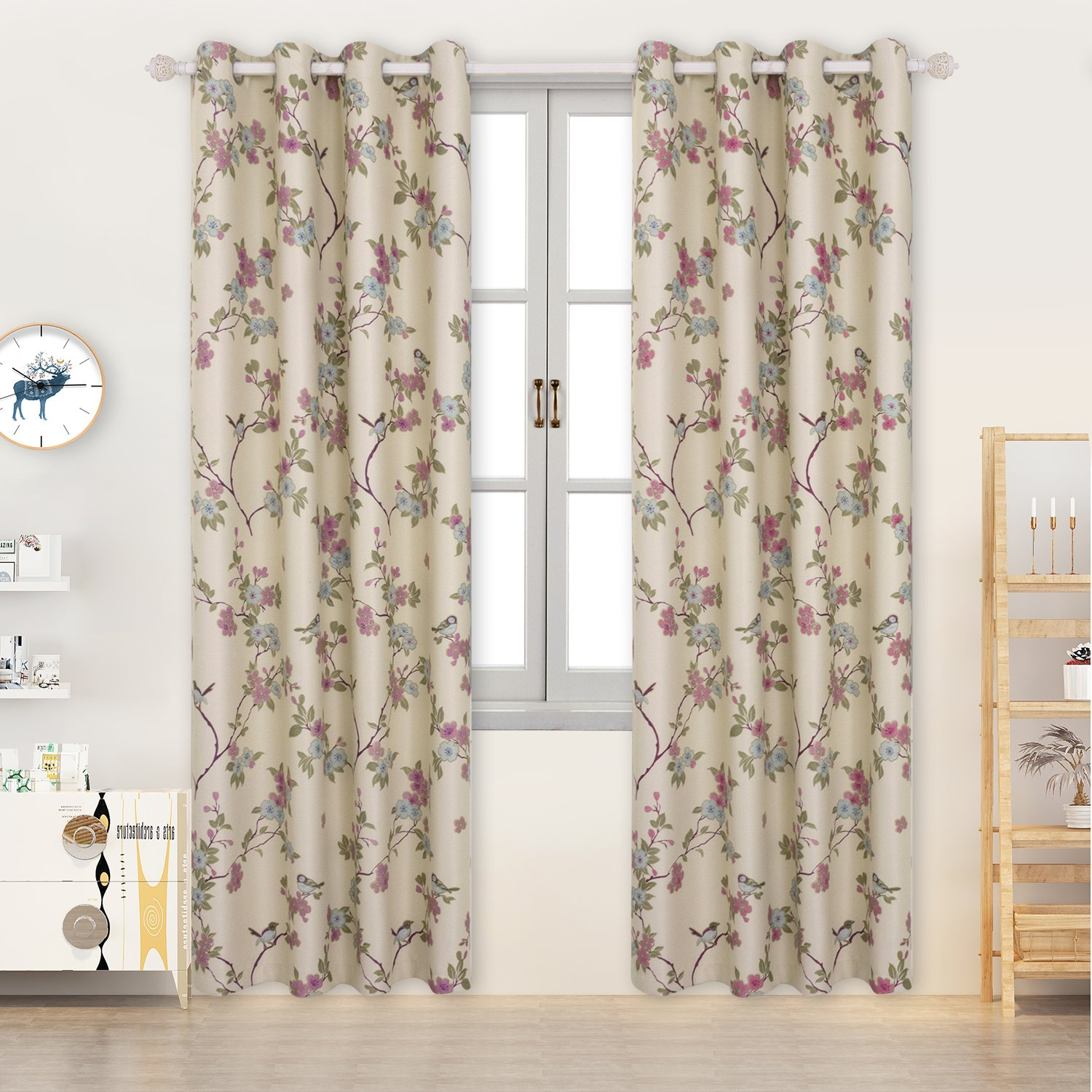 Curtains Eyelet countryside style 2 panels Room Darkening print Oriental Lucky Birds and flowers patterns Vintage Floral for living room(W46'' x L54'', Beige) BGment Hometex