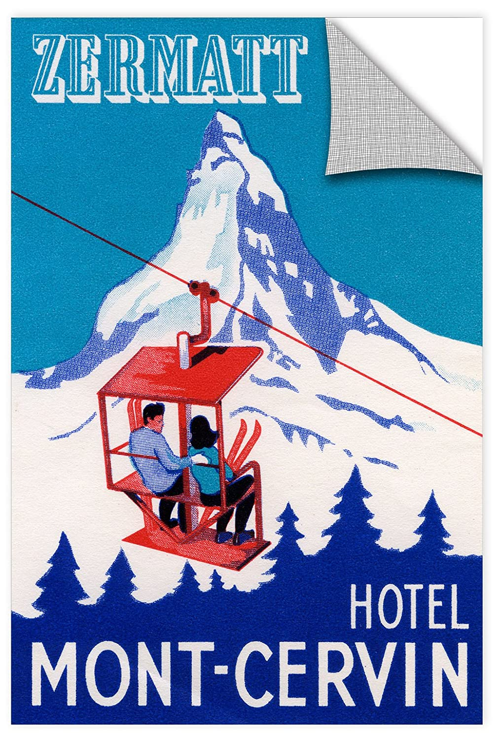 12 by 18 ArtWall 1ame003a1218p American Schools The Zermatt Peak with Skiers on Ski Lift,1935 Removable Wall Art