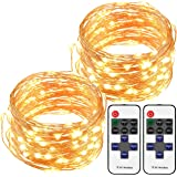 Cymas LED String Lights, 33ft 100LEDs Dimmable String Lights with Remote Controller for Indoor and Outdoor, Bedroom, Patio, Garden, Parties, Wedding, UL Listed (Warm White)