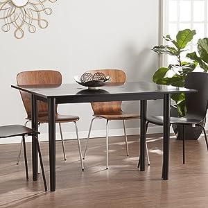 SEI Furniture Carlow Flip Top Convertible Console Dining Table, Satin Black