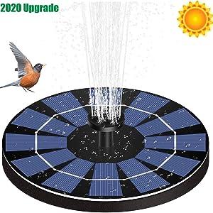 FEIFEIER Solar Fountain Pump for Bird Bath with 800mAh Battery Backup, 2.5W Free Standing Portable Floating Solar Powered Water Fountain Pump for Garden Backyard Pond Pool Outdoor