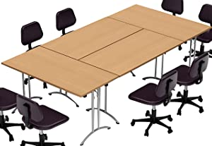 TeamWORKTables 2916 Compact Space Maximum Collaboration Meeting Seminar Conference Tables, Assembled, Easy-to-Setup-and-Use, Natural Beech, 4 Piece Combo (Chairs Not Included)