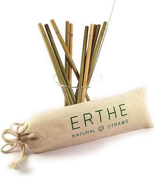 Erthe - Pajitas de bambú reutilizables, 100 % bambú ecológico ...