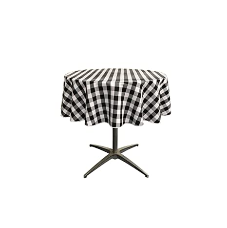 LA Linen Poly Checkered Round Tablecloth, 51 Inch, Black/White