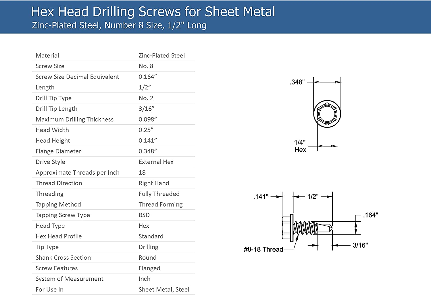 #8-18 Thread Size 1 Length Type AB Steel Sheet Metal Screw Pack of 100 Zinc Plated Hex Drive Hex Washer Head