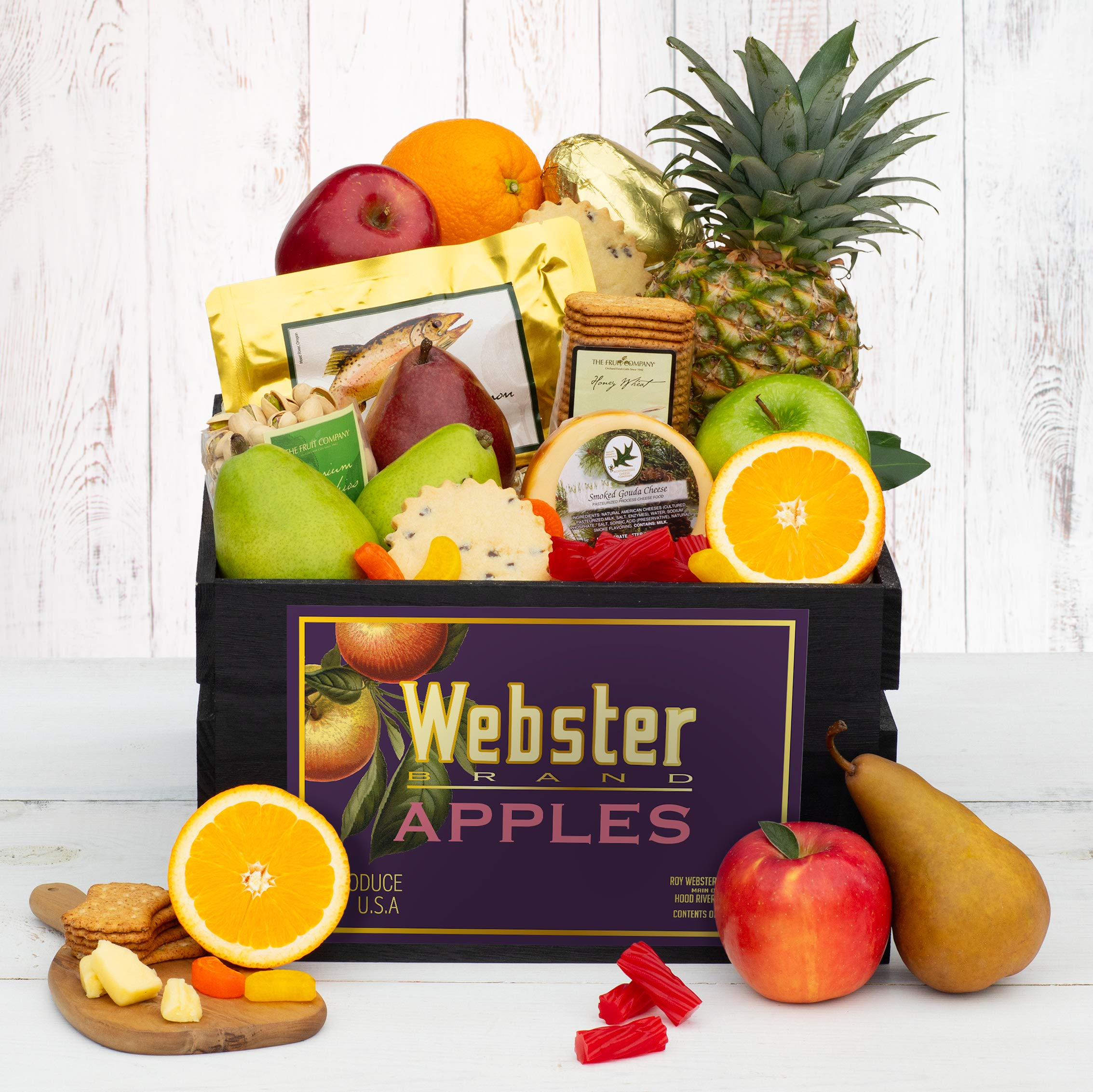 The Fruit Company - Pacific Bounty Vintage Crate Filled with Alaska Sockeye Salmon, Smoked Gouda Cheese, Crackers, Australian Red Licorice, Cookies & 11 pieces of Fresh Premium Fruit