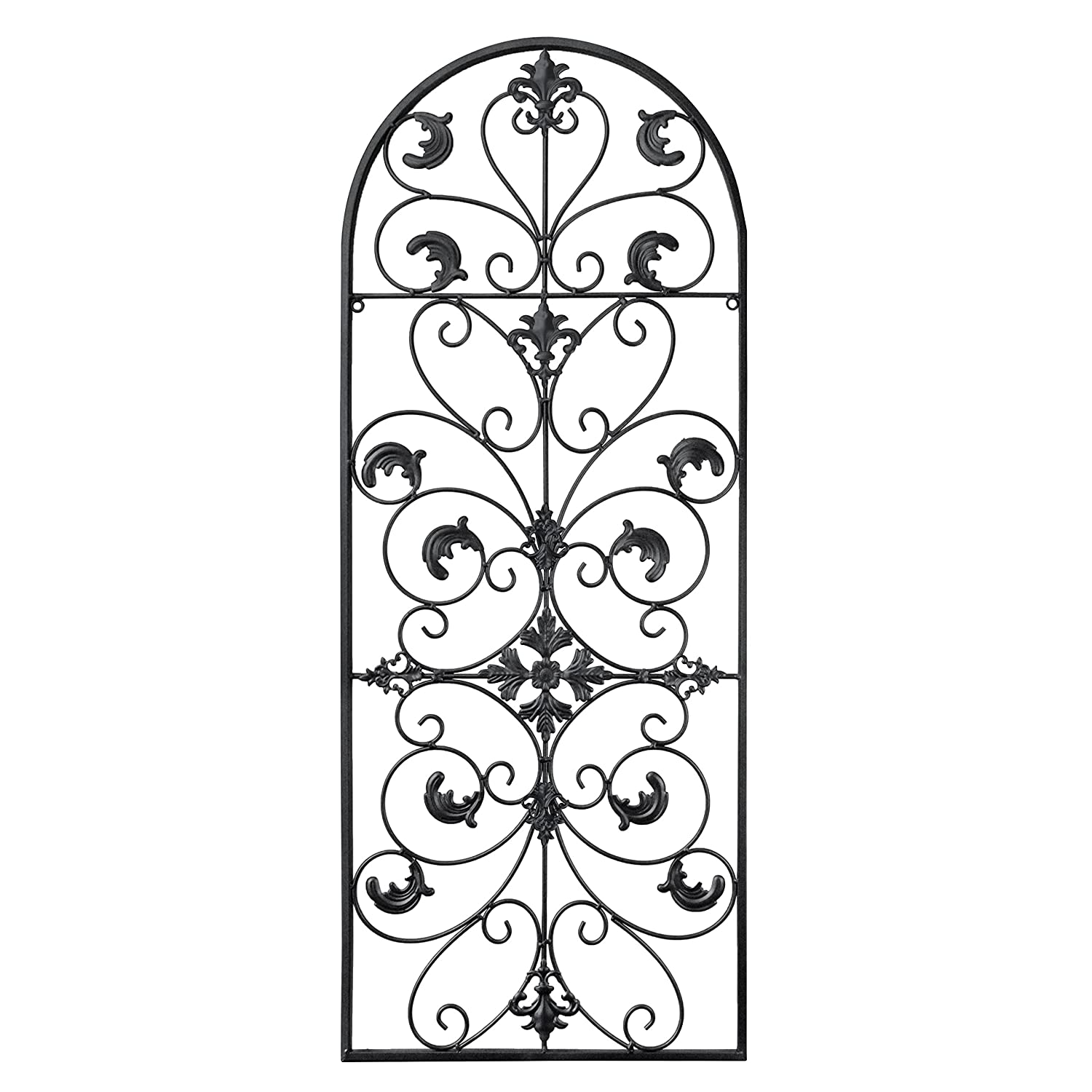 GB HOME COLLECTION gbHome GH-6777 Metal Wall Decor, Decorative Victorian Style Hanging Art, Steel Décor, Window Arch Design, 16.5 x 41.5 Inches, Black