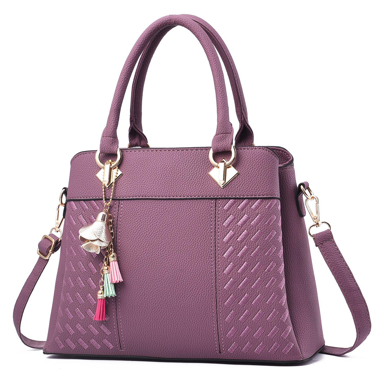 Charmore Women's Handbags Top Handle Shoulder Bags Totes (Purple)