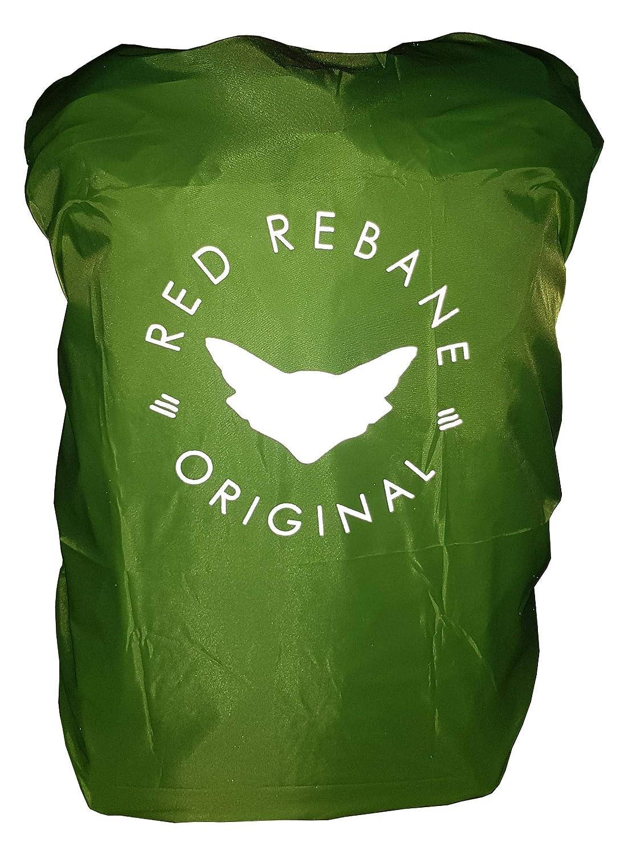 wasserdichte Regenh/ülle mit gro/ßem Reflektor//Gummizug f/ür Flexible Gr/ö/ßenanpassung 17L - 25L Red Rebane Rucksack Regencape