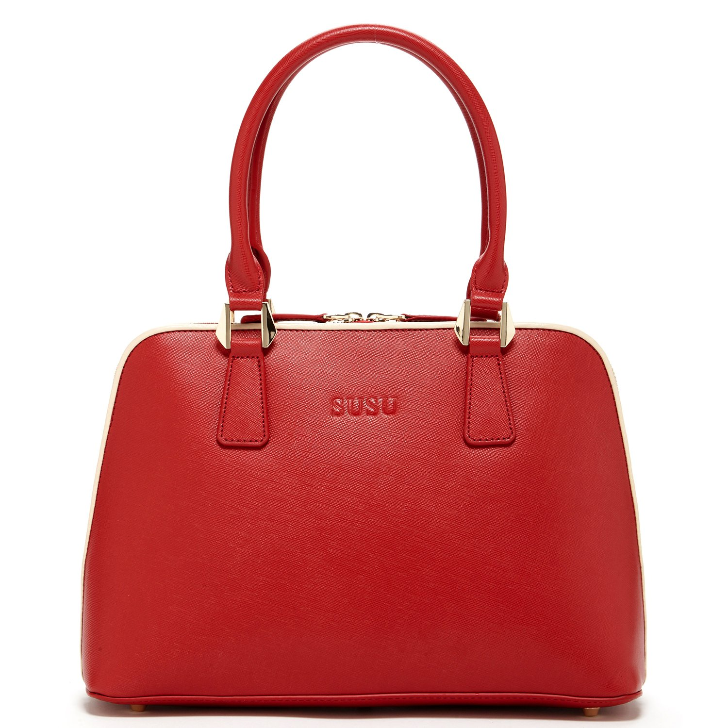 SUSU Red Satchel Handbags For Women Top Handle Saffiano Genuine Leather Purse Womens Designer Bags Classic Handbag with Long Crossbody Strap Dome Shape Bag Elegant Shoulder Purses For Women's Gift