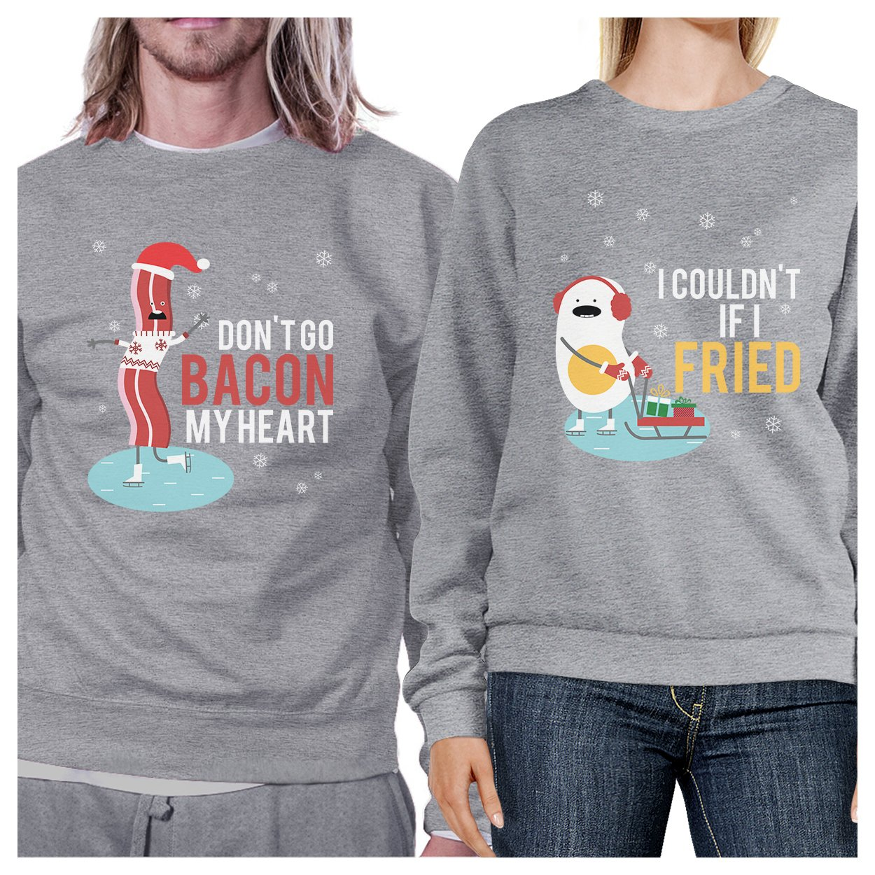 Bacon And Egg Winter Matching Couple Sweatshirts Funny Holiday Gift 365 Printing inc SS072HG MM WXS
