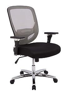 AmazonCommercial Ergonomic 500-pound Oversized Mesh Chair with Adjustable Armrests and Chrome Base - Grey