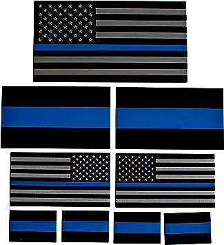 ALUMINUM Police Officer Emblem Thin Blue Line American Flag Decal Sticker USA