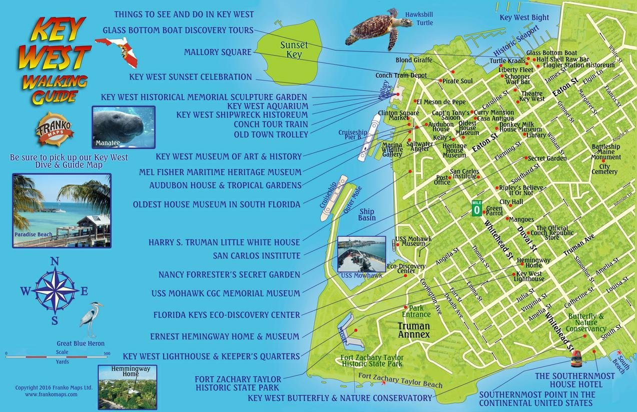 Map Of Florida Key West.Key West Florida Walking Guide Card Franko Maps Ltd 9781601905185