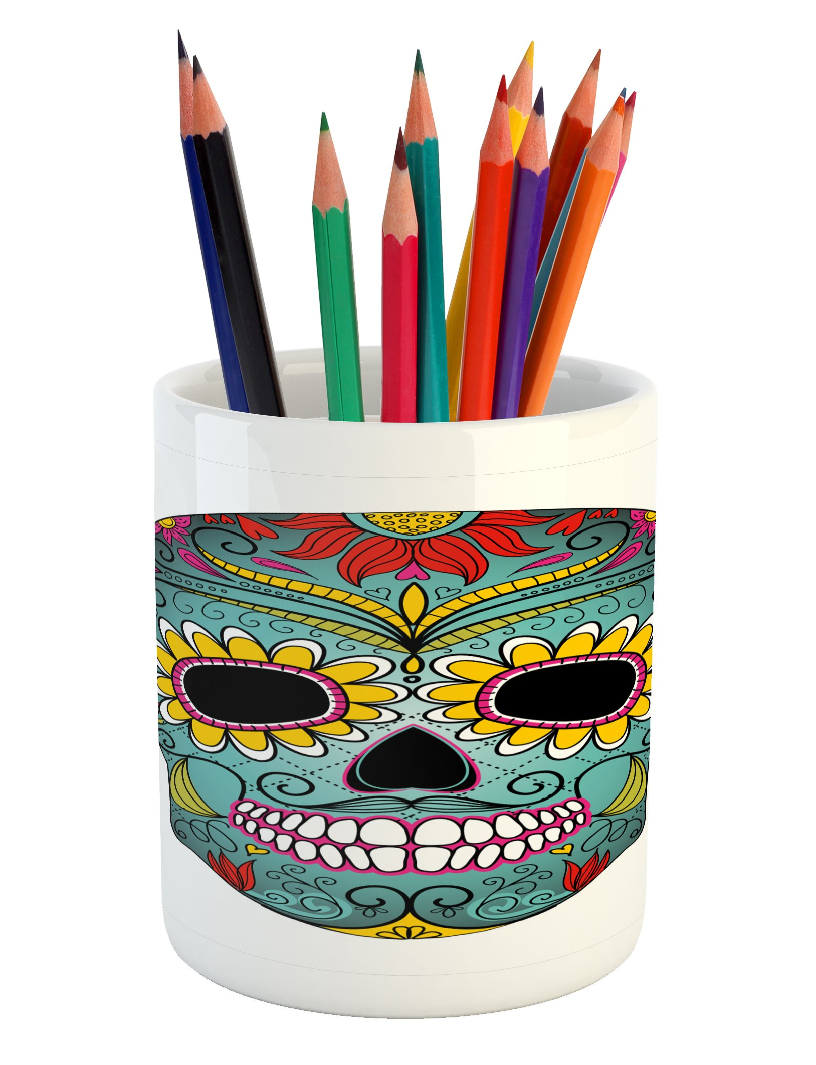 Ambesonne Sugar Skull Pencil Pen Holder, Folk Art Elements Featured Skull Day of The Dead Celebration Concept Print, Printed Ceramic Pencil Pen Holder for Desk Office Accessory, Multicolor