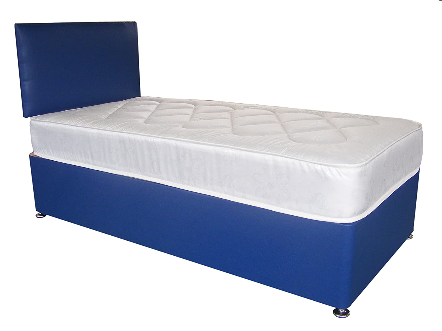 Blue Faux Leather Divan Bed Including Deep Quilt Mattress and Headboard kids (Available in 2'6 Small Single - 3'0 Single - 3'6 Large Single - 4'0 Small Double - 4'6 Double) (2'6x6'3 Small Single) In2Bed LTD
