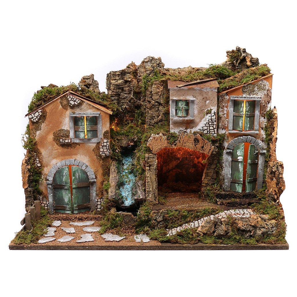 Holyart Presepe Borgo Contadino con Cascata funzionante e luci.