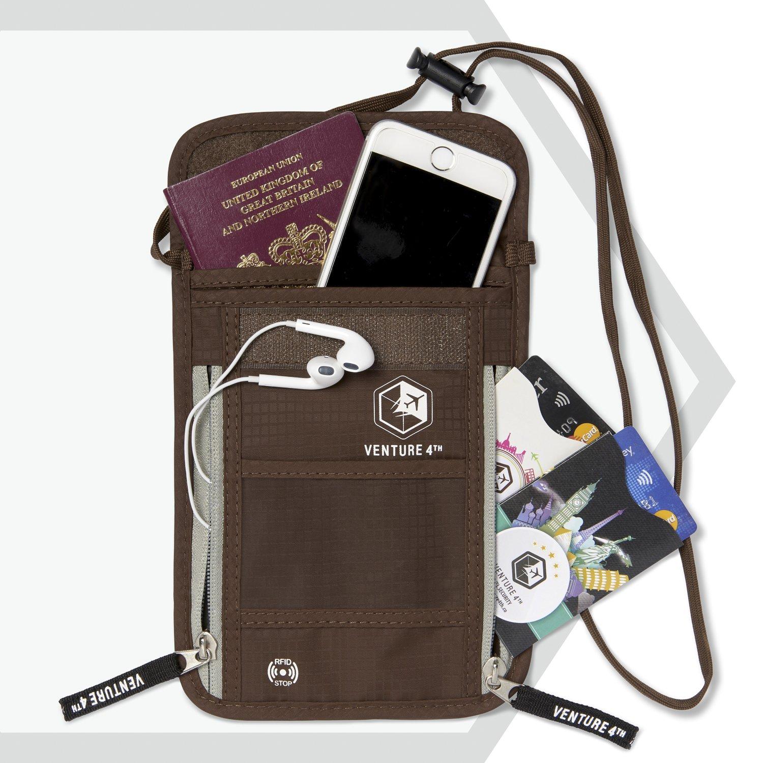 Venture 4th Passport Holder Neck Pouch With RFID – Safety Passport Pouch (Brown) by VENTURE 4TH (Image #2)