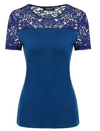 fe11c6902827 Zeagoo Damen Kurzarm T-Shirt aus Floral Spitze Basic Shirt Spiztenshirt  Tunika Baumwolle Tops Hemd