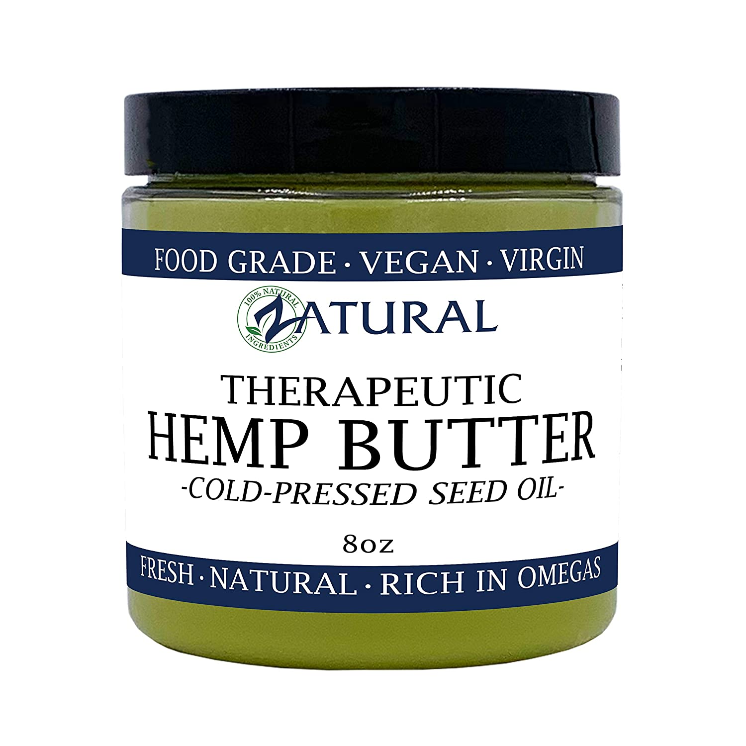 HEMP BUTTER | 100% All Natural Hemp Butter - Handcrafted - Assist with Pain, Stress, and more - Food Grade - vegan (8 Ounce)