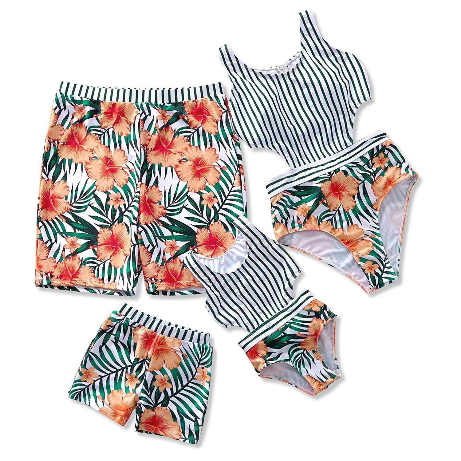 Yaffi Family Matching Swimwear 2019 Newest One Piece Floral Printed Bathing Suit Tank Top Striped Beachwear Women: M by Yaffi