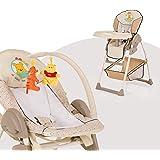 Hauck Sit N Relax 3 en 1 - Hamaquita balancín y trona para recién nacidos, respaldo reclinable, chasis ligero, con arco móvil, mesa, ruedas, regulable en altura, plegable, Pooh Ready to Play, beige