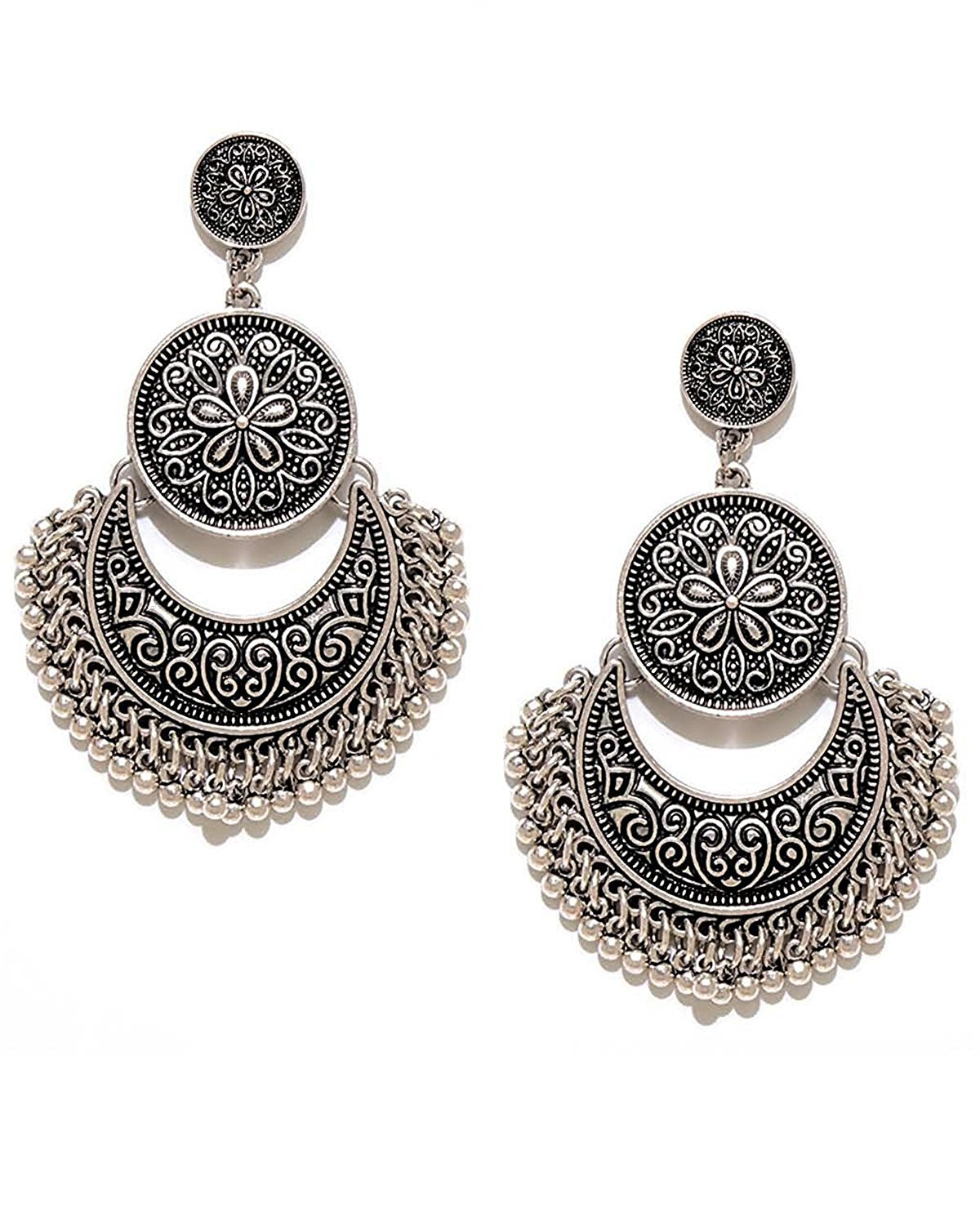 YouBella Jewellery Summer Special Stylish Oxidised Afghani Tribal Fancy Party Wear Earrings for Girls and Women (Silver)