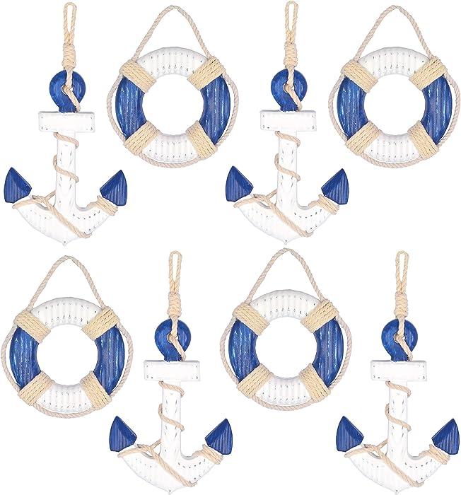 Hampton Nautical Wood Rustic Blue Anchors and Life Rings Set, Wooden Anchor Decor, Life Ring Decor, Decorative Life Ring, Nautical Life Ring, Life Ring Wall Decor, Nautical Life Preserver Decoration,