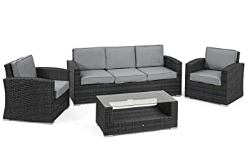 San Diego ratán muebles de jardín gris 3 plazas Sofá ...