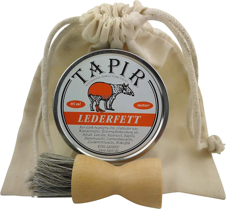 Tapir Lederfett Für Beanspruchte Glattleder Natur 85 Ml Anzahl 1x Lederfett Tiegelbürste Und Beutel Schuhe Handtaschen
