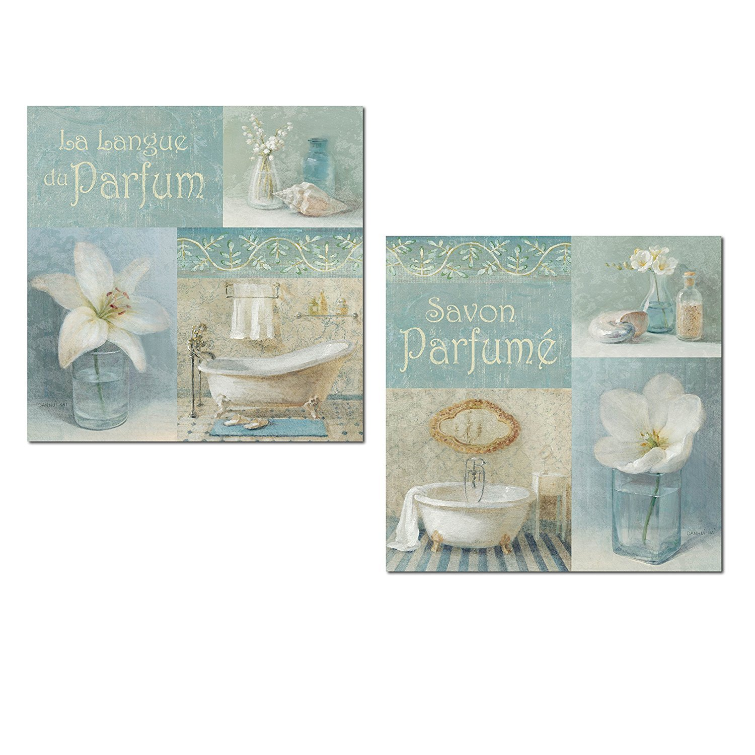 Amazon.com: Lovely Teal and Light Blue French Clawfoot Bathtub and ...