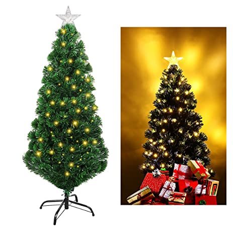 UNOMOR 4FT Christmas Tree With Multi Color And Tree Star Evergreen Pine Tree