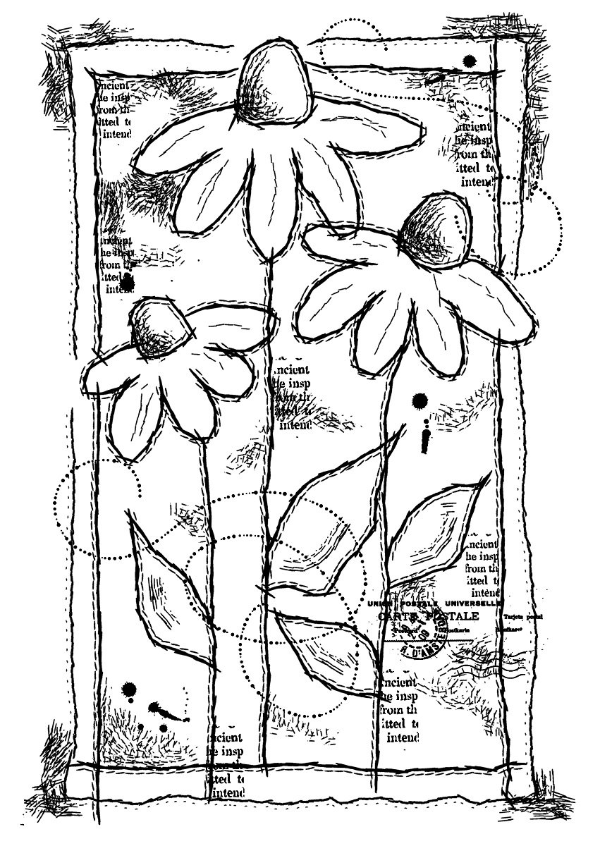 Woodware A6 Clear Cling Stamps - FRS689 Sketched Daisies by WoodWare