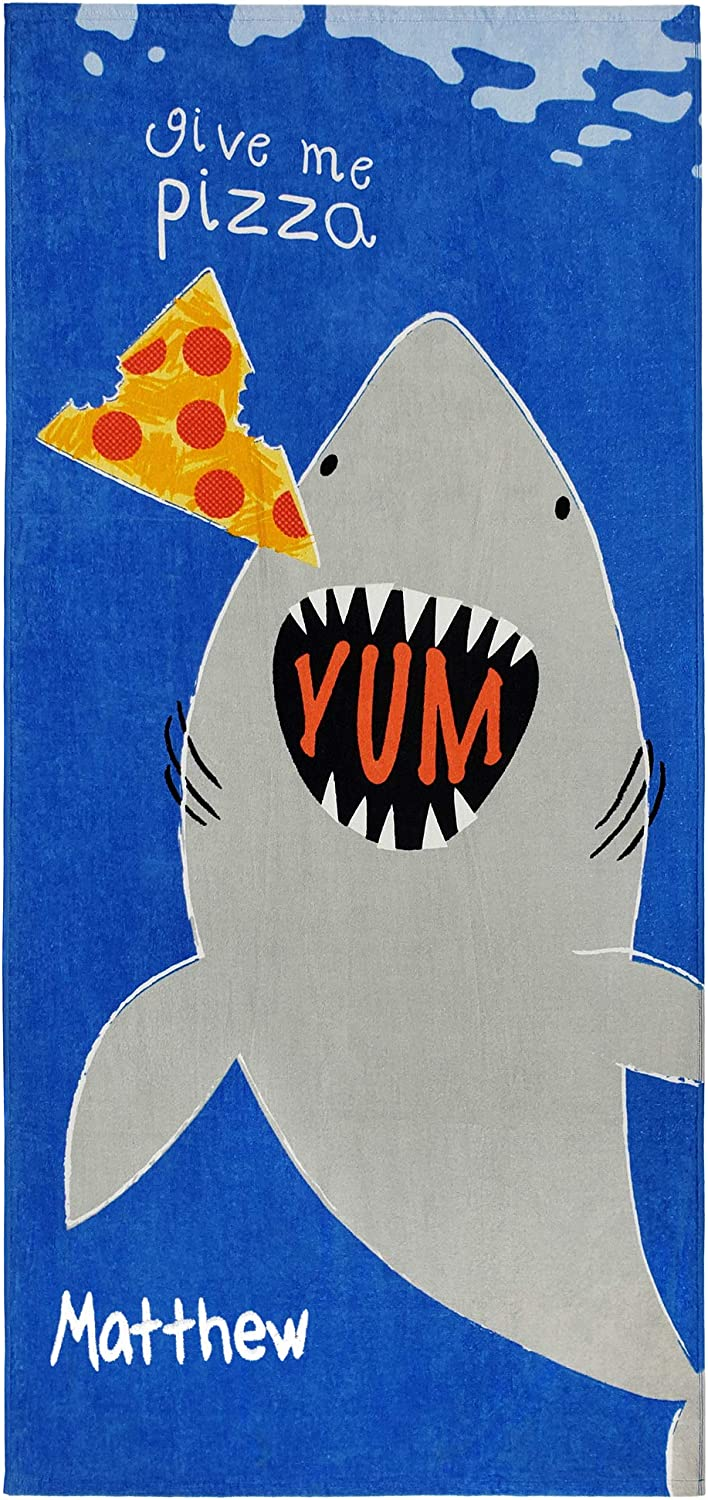 Kaufman - Personalized Beach Towels for Kids, 100% Absorbent Cotton, 30'' x 60'', Custom Embroidered Name (Shark BITE)