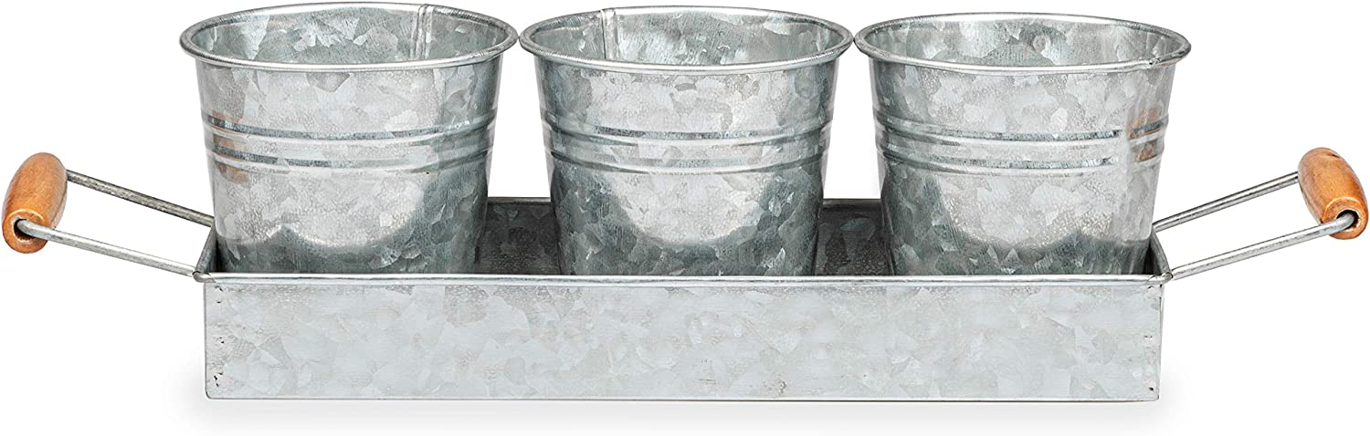 Galvanized Planter 3 Pack with Trough - Rustic Farmhouse Metal Bucket Vases for Flowers, Herbs, Succulents with Tray - Perfect for Outdoors or Indoor Decor