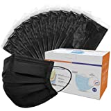 Sheal Individually Packaged Disposable 3 Ply Safety Face Mask for Home & Office - Elastic Earloops 100 Pcs (Black)