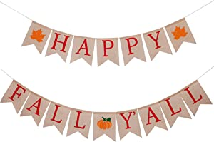 yosager 2 Pcs Happy Fall Y'all Banner Maple Pumpkin Burlap, Thanksgiving Fall Rustic Harvest Home Décor, Bunting Flag Garland Banner Set for Fall Harvest Thanksgiving Decorations