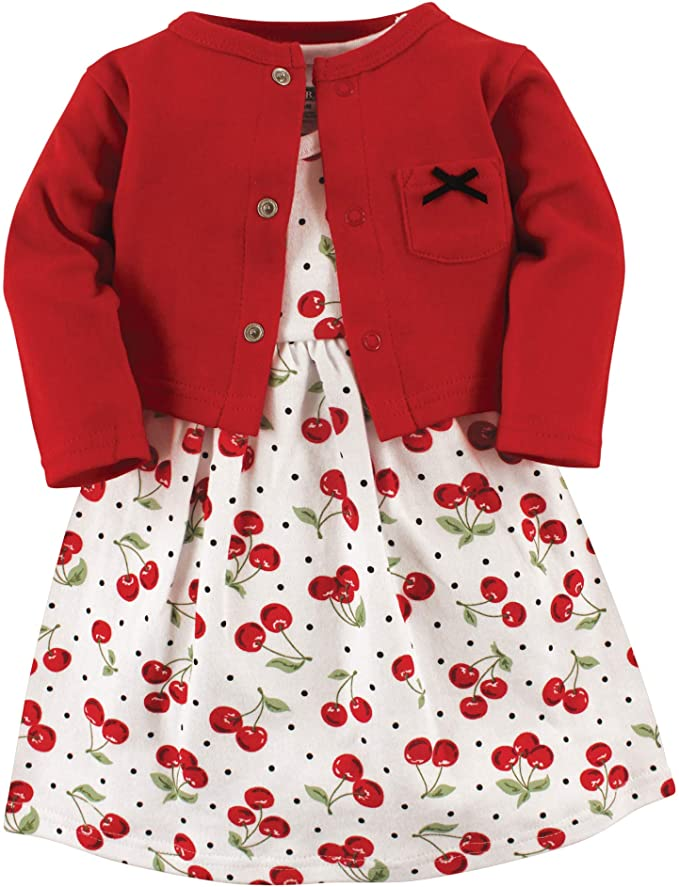 Kids 1950s Clothing & Costumes: Girls, Boys, Toddlers Hudson Baby Girls Cotton Dress and Cardigan Set $15.50 AT vintagedancer.com