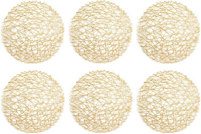 """DII Woven Paper Round Decorative Metalic Placemat or Charger for Holiday and Decor, 15"""" Round, Gold, Set of 6"""