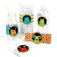 Big Dot of Happiness Monster Bash - DIY Party Supplies - Little Monster Birthday Party or Baby Shower DIY Wrapper Favors & Decorations - Set of 15