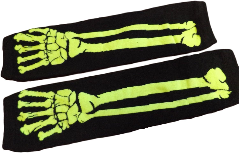 Poizen Industries Armstulpen Armw/ärmer Fingerlose Handschuhe Knochen Skelett Emo Psychobilly