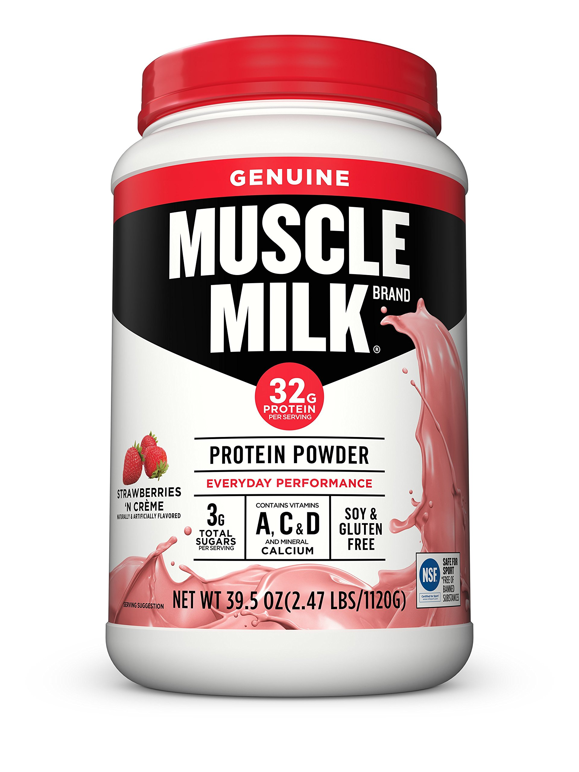 Muscle Milk Genuine Protein Powder, Strawberries 'N Crème, 32g Protein, 2.47 Pound by Cytosport