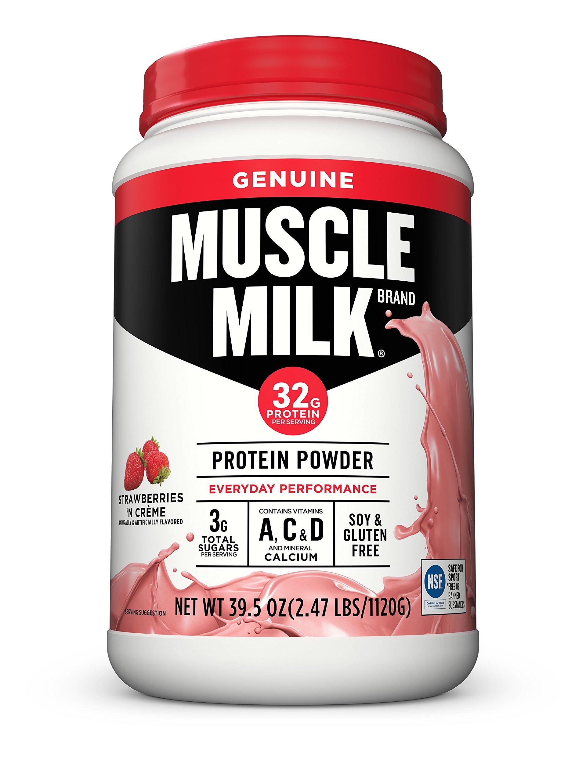 Amazon.com: Muscle Milk Genuine Protein Powder, Cake Batter, 32g ...