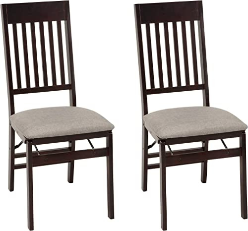 COSCO Mission Back Fabric Seat, Espresso, 2 Pack Folding Chair