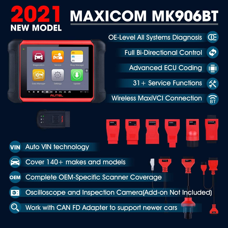 Amazon.com: Autel MaxiCOM MK906BT Automotive Scan Tool, 2021 Newest [Same  as MS908/MS906BT] All System Diagnostics Scanner, ECU Coding,  Bi-Directional Control, 31 Services, ABS Bleed, EPB, Transmission:  Automotive